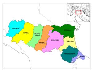 Mapa de la regió Emilia a Itàlia