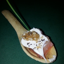 Cullera de salmo marinat amb mascarpone
