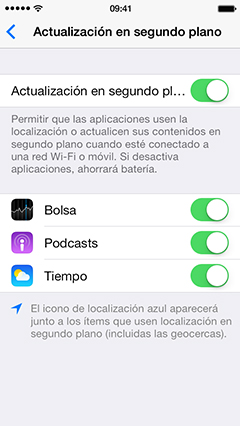 actualización de apps en segundo plano